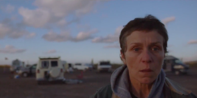 Francis McDormand received a Best Actress nomination for playing van-dwelling Fern in