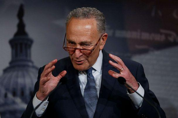 PHOTO: Democratic leader Sen. Chuck Schumer, D-N.Y., talks to reporters about the impeachment trial of President Donald Trump on charges of abuse of power and obstruction of Congress, at the Capitol in Washington, Thursday, Jan. 16, 2020. (Julio Cortez/AP)