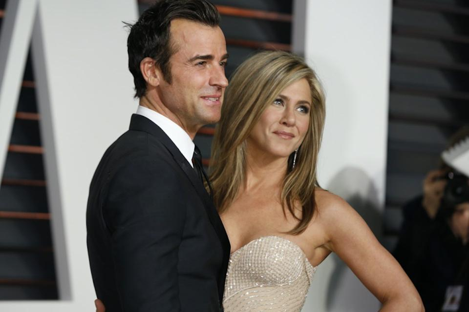 Jennifer Aniston and Justin Theroux at the Vanity Fair Oscar Party in 2015