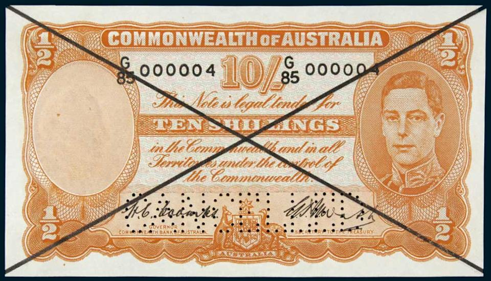 A 10-shilling banknote in the set expected to fetch more than $250,000 in the Noble Numismatics auction in Sydney.