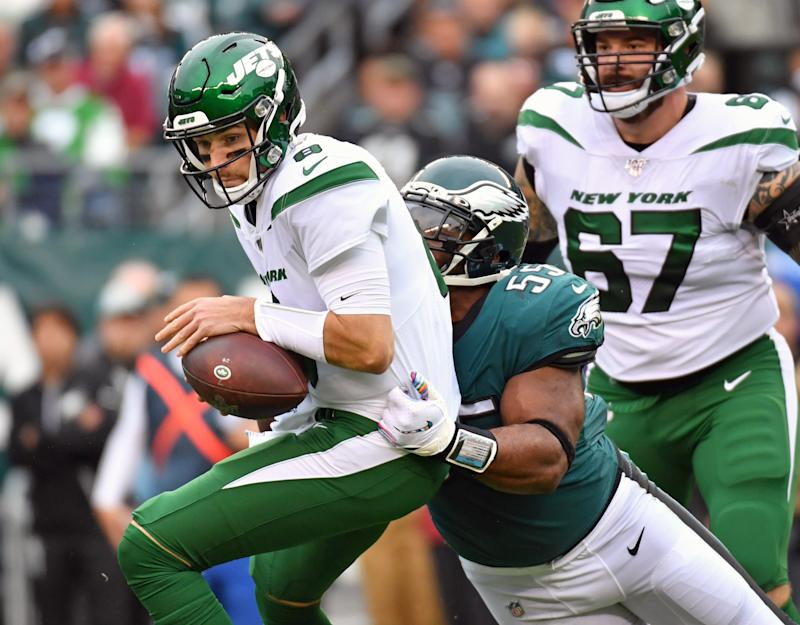 Oct 6, 2019; Philadelphia, PA, USA; New York Jets quarterback Luke Falk (8) is sacked by Philadelphia Eagles defensive end Brandon Graham (55) during the first quarter at Lincoln Financial Field. Mandatory Credit: Eric Hartline-USA TODAY Sports