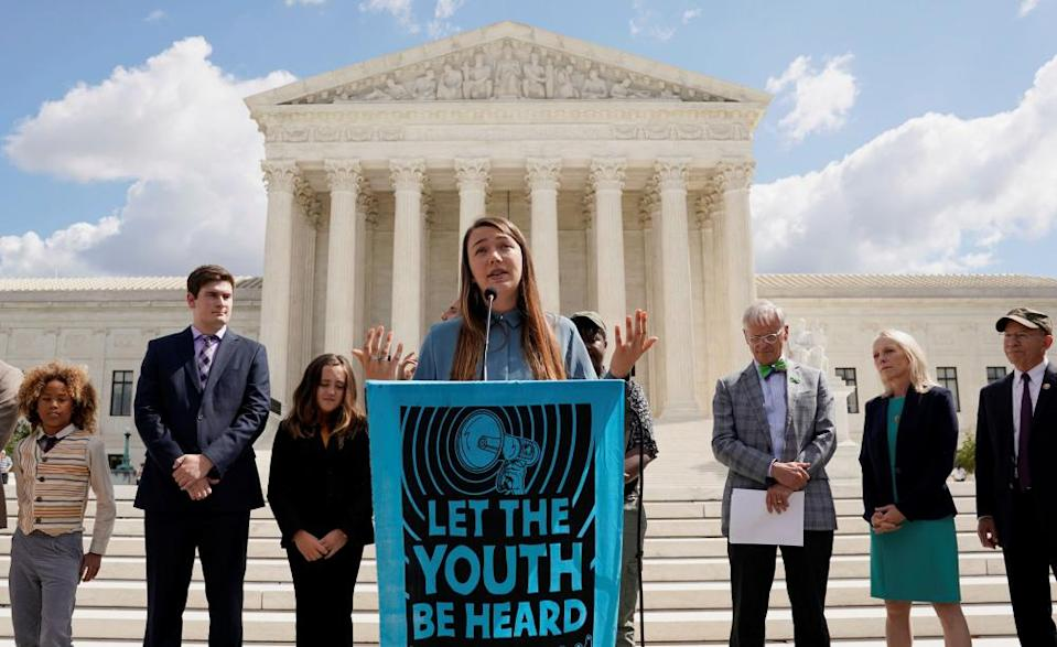 Kelsey Juliana, the lead plaintiff in Juliana v United States speaks at the supreme court in Washington DC.