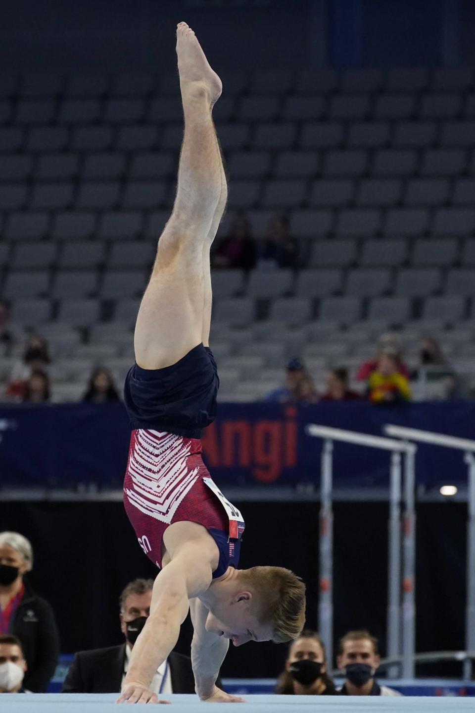 Shane Wiskus competes in the floor exercise during the U.S. Gymnastics Championships, Saturday, June 5, 2021, in Fort Worth, Texas. (AP Photo/Tony Gutierrez)