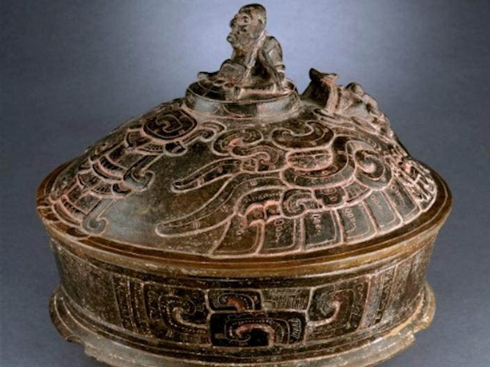 Lidded Vessel with Deity Riding on Mythical Bird A.D. 250-450. Denver Art Museum