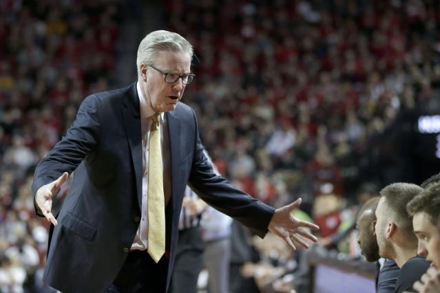 Iowa coach Fran McCaffery talks to his bench during the second half of an NCAA college basketball game against Nebraska in Lincoln, Neb., Sunday, March 10, 2019. Nebraska won 93-91 in overtime. (AP Photo/Nati Harnik)