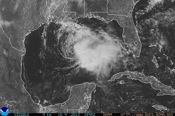 Tropical Storm Karen over the Gulf Coast as viewed by the GOES-East satellite on Oct. 4.