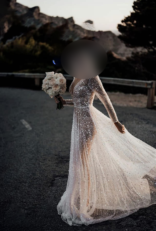Bride pictured side-on in see-through g-string wedding dress