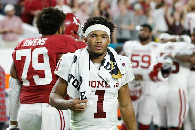 Oklahoma's Kyler Murray is regarded as one of the top QB prospects in the 2019 NFL draft class . (Getty Images)