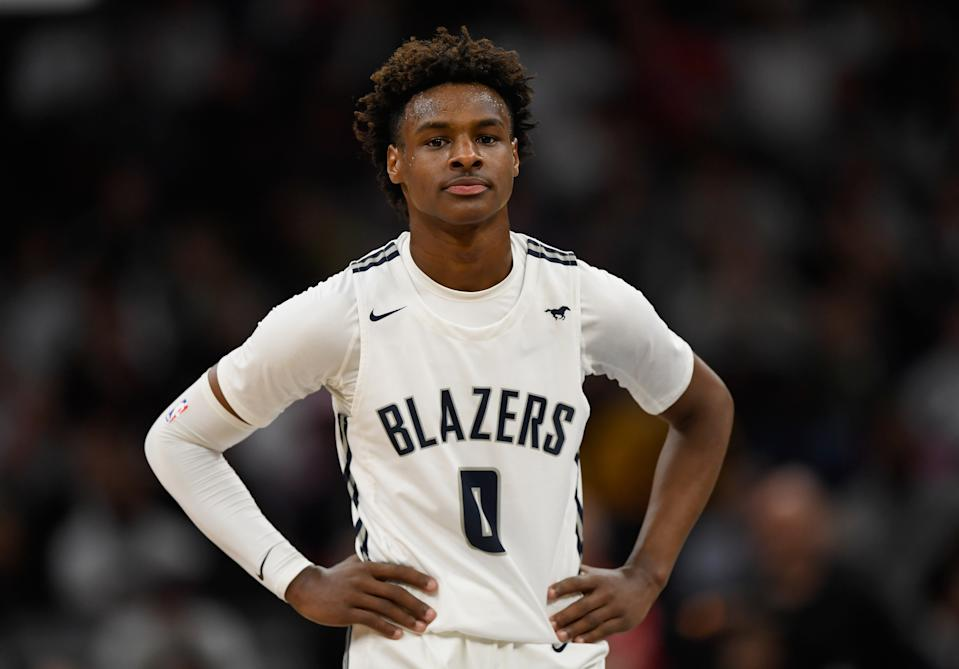 Bronny James #0 of Sierra Canyon Trailblazers looks on during a game against the Minnehaha Academy Red Hawks on Jan. 04, 2020. (Hannah Foslien/Getty Images)