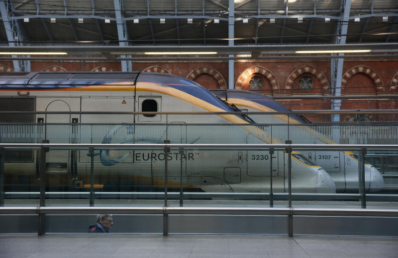 Eurostar trains stand at St Pancras International Station in London on Jan. 17, 2015. (Stefan Wermuth / Reuters)