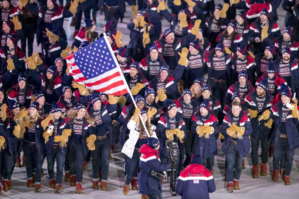 Team USA marches at the Opening Ceremony of the 2018 PyeongChang Winter Olympics. (Getty)