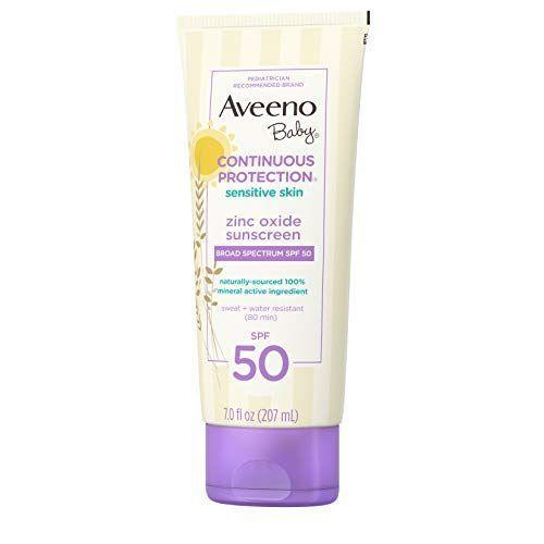 "<p><strong>Aveeno Baby </strong></p><p>amazon.com</p><p><strong>$17.65</strong></p><p><a href=""https://www.amazon.com/dp/B07LCVVG4K?tag=syn-yahoo-20&ascsubtag=%5Bartid%7C10055.g.256%5Bsrc%7Cyahoo-us"" rel=""nofollow noopener"" target=""_blank"" data-ylk=""slk:Shop Now"" class=""link rapid-noclick-resp"">Shop Now</a></p><p>This mineral-based sunscreen is a great choice for your little ones because of its formula, which is <strong><a href=""//www.goodhousekeeping.com/health/g20688867/best-sunscreen-for-kids/"" data-ylk=""slk:made specifically for babies"" class=""link rapid-noclick-resp"">made specifically for babies</a> with sensitive skin</strong>. Its active ingredient is naturally-sourced zinc oxide, and it also contains oat which is known for having soothing effects on skin.</p>"