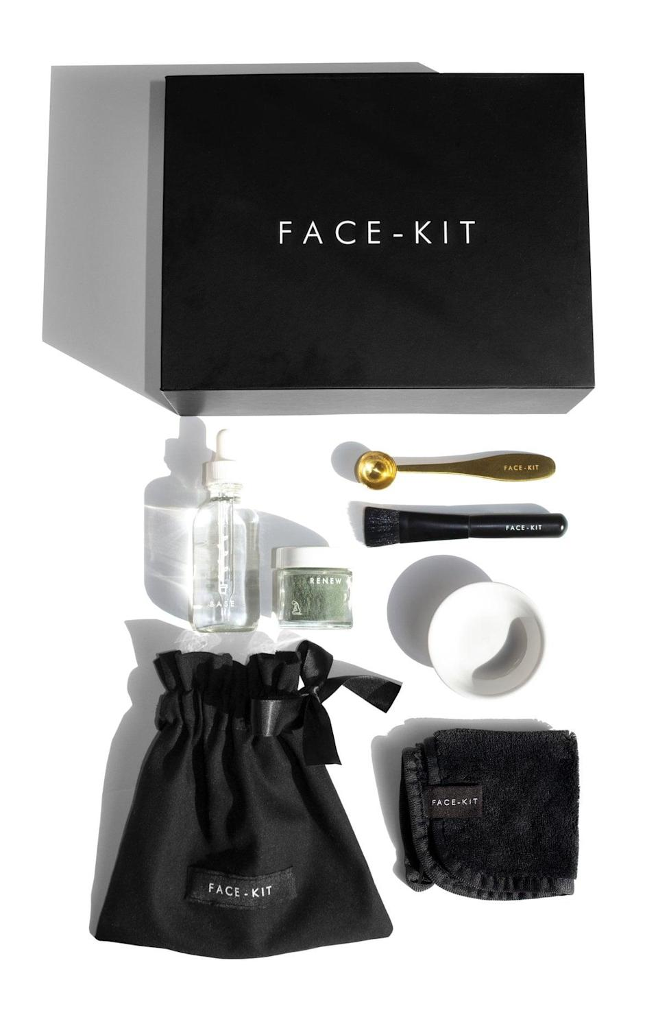 "<p>""Like most beauty editors, I love a good face mask - I do multiple a week. The <a href=""https://www.popsugar.com/buy/Face-Kit-Renew-Mask-Kit-578706?p_name=Face-Kit%20Renew%20Mask%20Kit&retailer=face-kit.com&pid=578706&price=85&evar1=bella%3Aus&evar9=47519595&evar98=https%3A%2F%2Fwww.popsugar.com%2Fbeauty%2Fphoto-gallery%2F47519595%2Fimage%2F47519653%2FFace-Kit-Renew-Mask-Kit&list1=must%20haves%2Ceditors%20pick%2Cskin%20care&prop13=mobile&pdata=1"" class=""link rapid-noclick-resp"" rel=""nofollow noopener"" target=""_blank"" data-ylk=""slk:Face-Kit Renew Mask Kit"">Face-Kit Renew Mask Kit</a> ($85) is the newest one I've gotten to try and let me just say, it is more than a face mask. The mix-it-yourself experience adds an element of self-care to it that I love. The kit comes with the mask powder, mixing base, a brush, spoon, glass mixing bowl, cleansing cloth, and linen bag to keep it all together. It really takes my at-home facial to a whole new level."" - JH</p>"