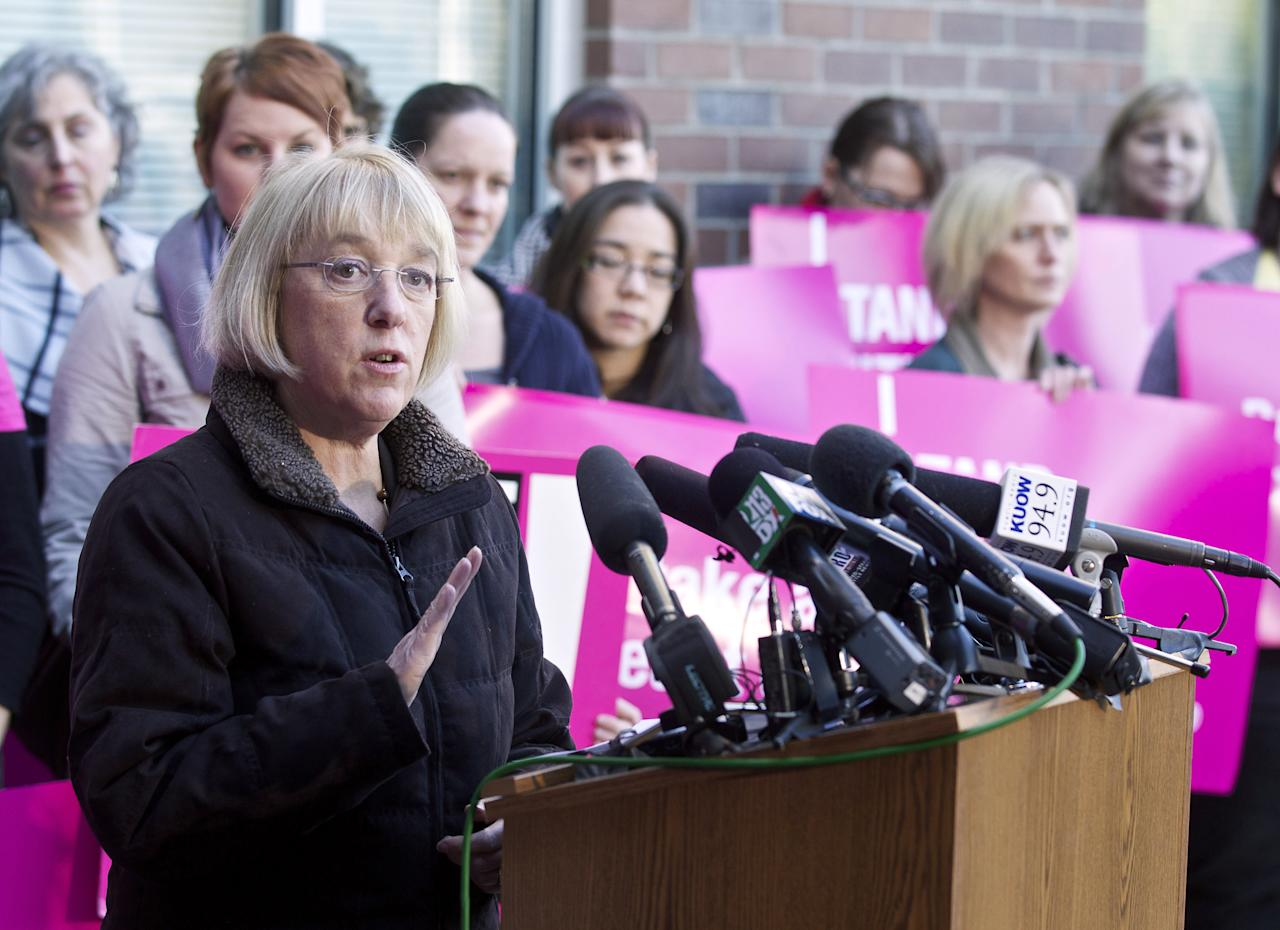 SEATTLE, WASHINGTON  - FEBRUARY 3:  U.S. Sen. Patty Murray (D-WA) speaks during a press conference at a Planned Parenthood Clinic February 3, 2012 in Seattle, Washington. Murray commended the Susan G. Komen Foundation's reversal of a decision to not fund breast exams at Planned Parenthood. (Photo by Stephen Brashear/Getty Images)