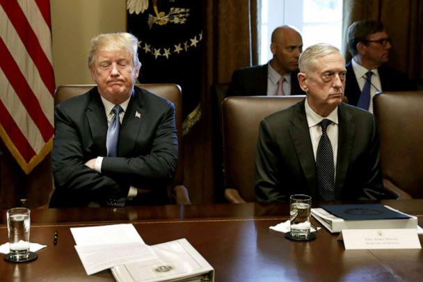 PHOTO: President Donald Trump pauses while speaking as James Mattis, Secretary of Defense, listens during a Cabinet meeting at the White House in Washington, June 21, 2018. (Bloomberg via Getty Images, FILE)