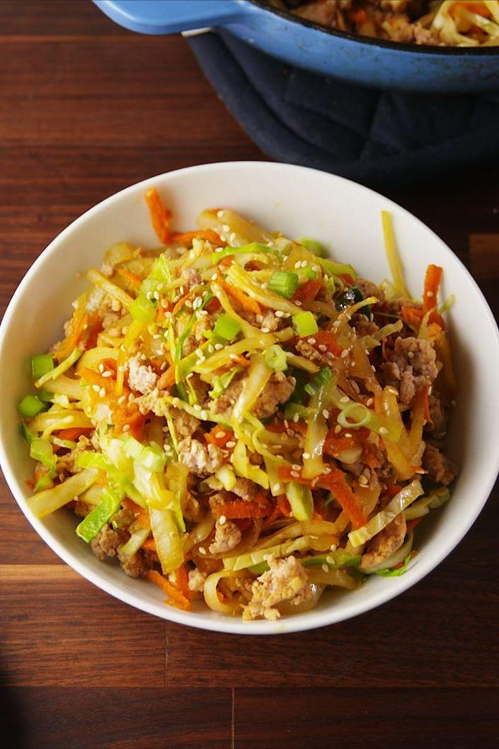"""<p>The healthy way to enjoy an egg roll!</p><p>Get the recipe from <a href=""""https://www.delish.com/cooking/recipe-ideas/recipes/a56236/egg-roll-bowls-recipe/"""" rel=""""nofollow noopener"""" target=""""_blank"""" data-ylk=""""slk:Delish"""" class=""""link rapid-noclick-resp"""">Delish</a>. </p>"""