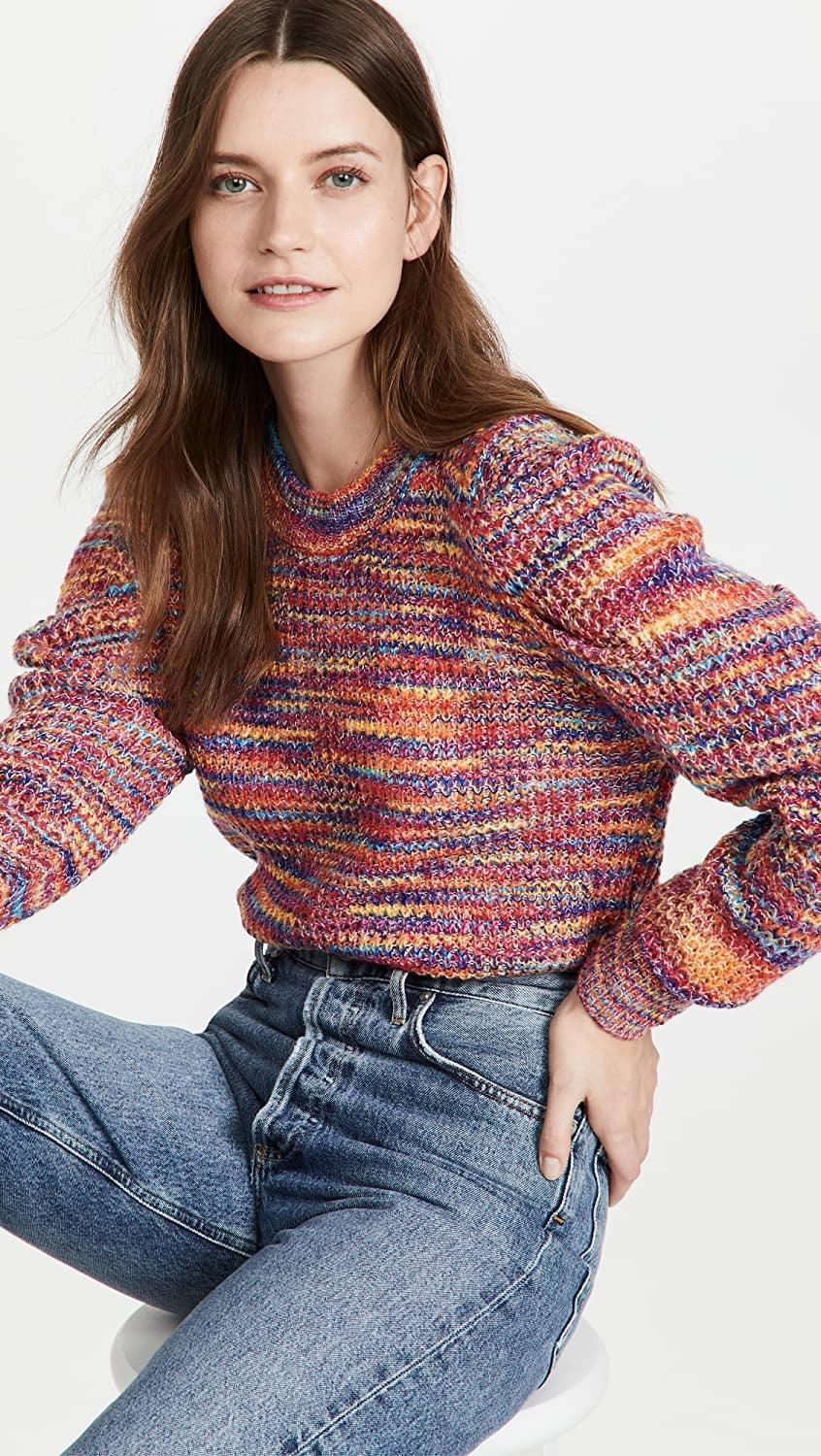 <p>Add some color to your wardrobe with this vibrant <span>En Saison Puff Sleeve Space Dye Crew Neck Sweater</span> ($75). It looks great with classic denim or a black skirt.</p>
