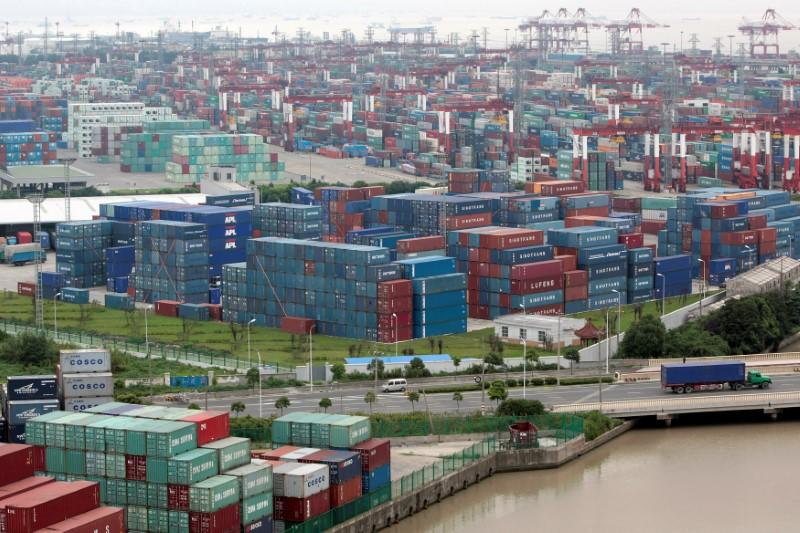FILE PHOTO: A general view of a container port in Shanghai