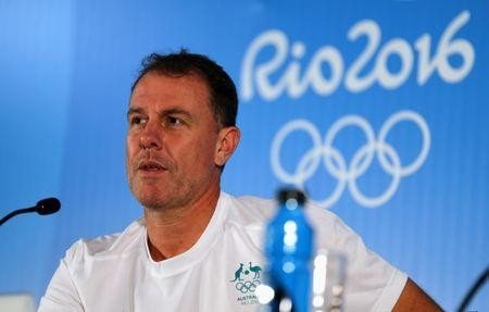 FILE PHOTO: 2016 Rio Olympics - Women's Soccer - News Conference - Mineirao Stadium - Belo Horizonte, Brazil - 11/08/2016. Head coach Alen Stajcic of Australia gives a press conference. REUTERS/Mariana Bazo/Files