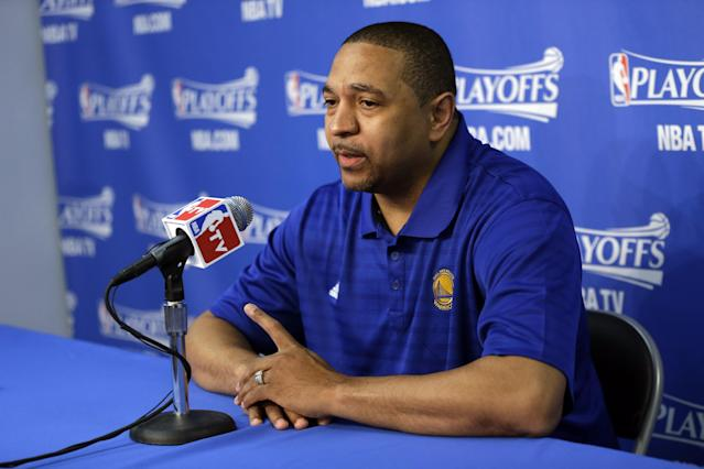 Golden State Warriors head coach Mark Jackson answers questions during a pregame news conference before Game 4 of an opening-round NBA basketball playoff series against the Los Angeles Clippers on Sunday, April 27, 2014, in Oakland, Calif. (AP Photo/Marcio Jose Sanchez)