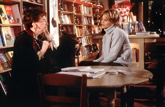 Meg Ryan, with Jean Stapleton, in her character's book store.