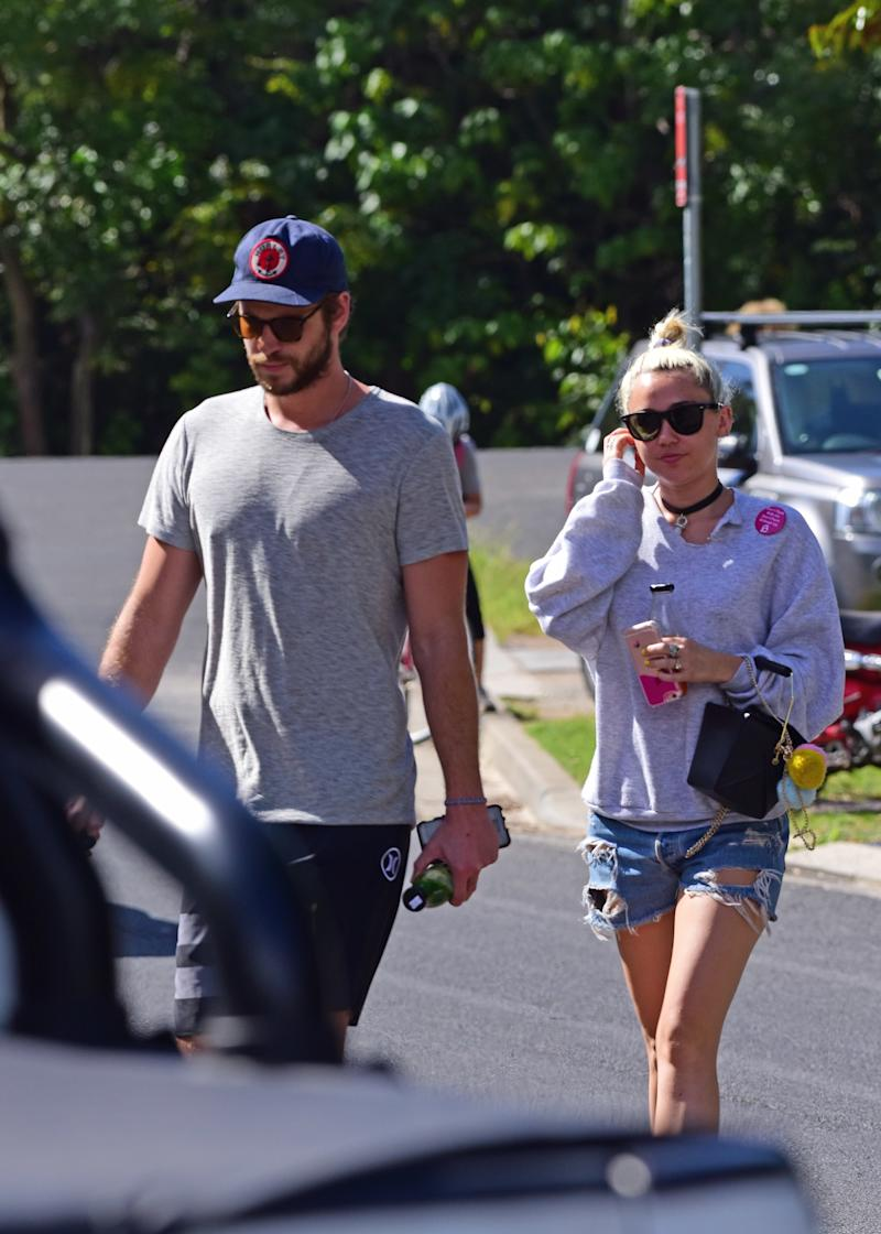 Liam Hemsworth and Miley Cyrus spotted on April 29, 2016 in Byron Bay, Australia.