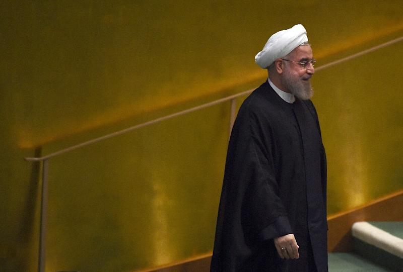 Iran's president Hassan Rouhani arrives to speak at the United Nations Sustainable Development Summit on September 26, 2015