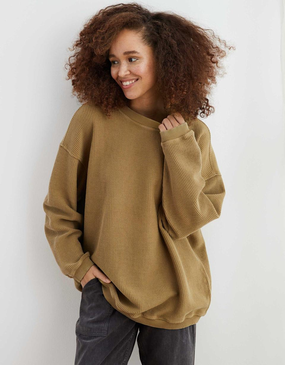 """<p><strong>Aerie</strong></p><p>ae.com</p><p><strong>$37.46</strong></p><p><a href=""""https://go.redirectingat.com?id=74968X1596630&url=https%3A%2F%2Fwww.ae.com%2Fus%2Fen%2Fp%2Faerie%2Ftops%2Four-fave-tops%2Faerie-new-love-corded-oversized-sweatshirt%2F0743_1684_332%3Fip%3Doff%26cid%3DPLA_Aerie_Brand_Womens_Tops%26gclid%3DEAIaIQobChMI9vy_gZzh6QIVCL7ACh1HvQ00EAQYASABEgLBbPD_BwE&sref=https%3A%2F%2Fwww.seventeen.com%2Ffashion%2Fg32730536%2Fbest-sweaters-for-women%2F"""" rel=""""nofollow noopener"""" target=""""_blank"""" data-ylk=""""slk:Shop Now"""" class=""""link rapid-noclick-resp"""">Shop Now</a></p><p>Confession: I literally own this sweater in every color. I love the oversized fit for summer nights, but wear it non-stop during fall.</p>"""