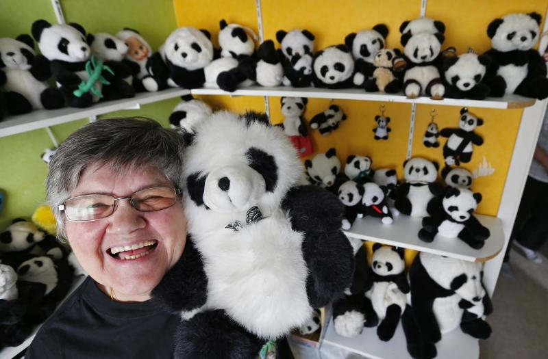 Celine Cornet holds a panda soft toy, part of a collection of 2,200 pieces of panda collectables, in her house in Haccourt