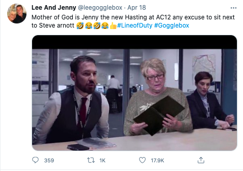 'Gogglebox's Jenny and her 'Line of Duty' notebook photoshopped into AC-12Twitter
