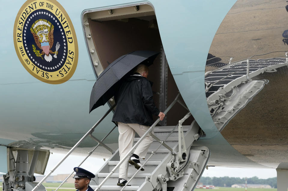 President Donald Trump boards Air Force One as he departs Saturday, Aug. 29, 2020, at Andrews Air Force Base, Md. Trump is en route to tour damage from Hurricane Laura in Texas and Louisiana. (AP Photo/Alex Brandon)