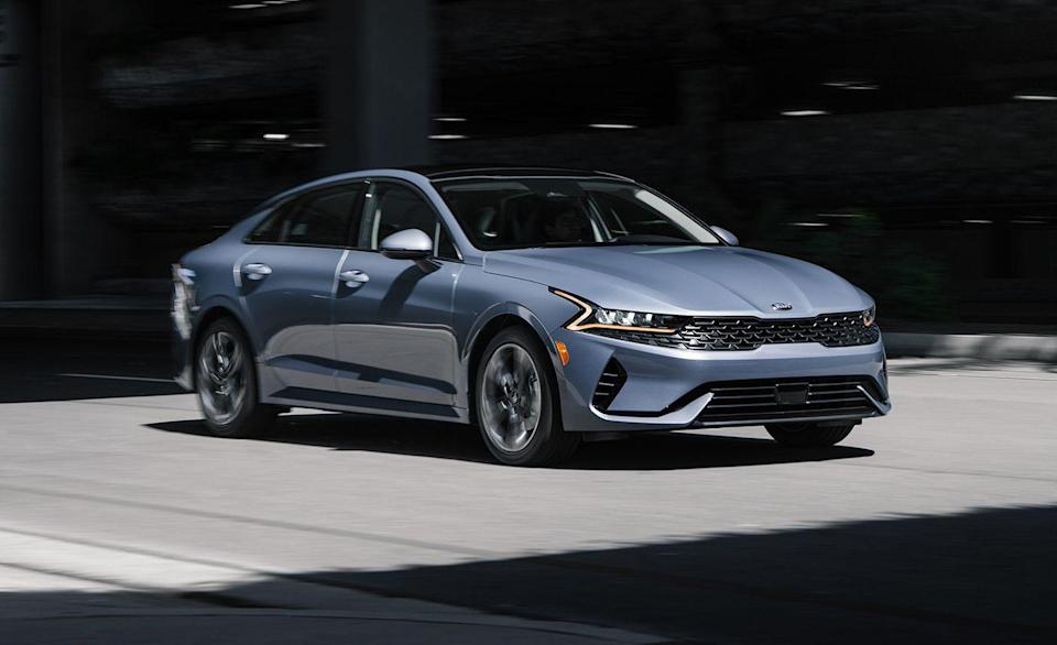 """<p>Last year's Kia Optima was a Top Safety Pick. The Optima has been replaced by the sharper-looking <a href=""""https://www.caranddriver.com/kia/k5"""" rel=""""nofollow noopener"""" target=""""_blank"""" data-ylk=""""slk:K5"""" class=""""link rapid-noclick-resp"""">K5</a>, and Kia's mid-size sedan is <a href=""""https://www.iihs.org/ratings/vehicle/kia/k5-4-door-sedan/2021"""" rel=""""nofollow noopener"""" target=""""_blank"""" data-ylk=""""slk:safer than ever"""" class=""""link rapid-noclick-resp"""">safer than ever</a>. Part of what makes the K5 safer is its added pedestrian-detection technology. Good and Superior ratings were awarded by the IIHS, but there were mixed results during headlight testing. Four different variations were tested. K5 GT-Line and GT models built after November 2020 have the best headlights with LED projectors. However, those same trims built before December 2020 received a Poor rating for inadequate visibility in all four headlight tests. The newest K5 LX, LXS, GT-Line, EX, and GT received an Acceptable rating for their shared LED reflectors. </p><p><a class=""""link rapid-noclick-resp"""" href=""""https://www.caranddriver.com/reviews/a34384589/2021-kia-k5-by-the-numbers/"""" rel=""""nofollow noopener"""" target=""""_blank"""" data-ylk=""""slk:K5 TESTED"""">K5 TESTED</a> 
