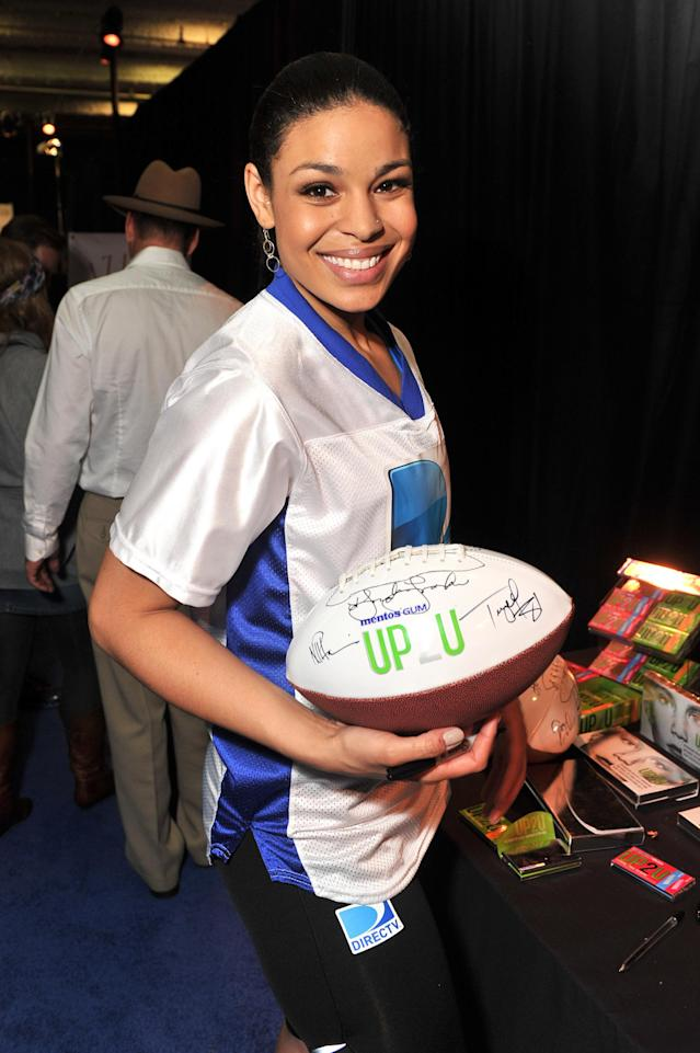 INDIANAPOLIS, IN - FEBRUARY 04: Singer/actress Jordin Sparks poses with UP2U Gum at DIRECTV Celebrity Beach Bowl 2012 at Victory Field on February 4, 2012 in Indianapolis, Indiana. (Photo by Stephen Lovekin/Getty Images for UP2U Gum)