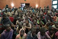 Safe: Newly-released students were brought to a government building in Katsina after their release on Thursday