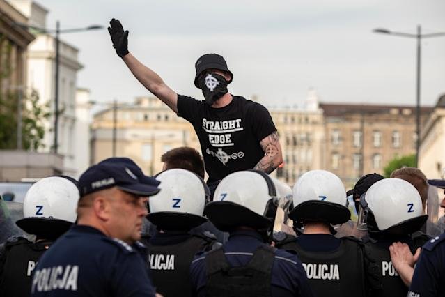 <p>A supporter of the far-right National-Radical Camp (ONR) protests in Warsaw, Poland May 1, 2018. (Photo: Agencja Gazeta/Dawid Zuchowicz/Reuters) </p>