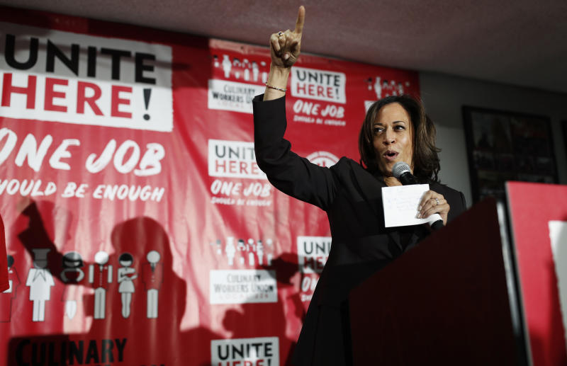 Democratic presidential candidate Sen. Kamala Harris, D-Calif., speaks at a town hall event at the Culinary Workers Union, Friday, Nov. 8, 2019, in Las Vegas. (AP Photo/John Locher)