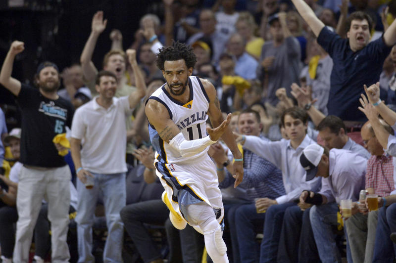 Memphis Grizzlies guard Mike Conley (11) reacts during the second half of Game 3 in the team's NBA basketball first-round playoff series against the San Antonio Spurs on Thursday, April 20, 2017, in Memphis, Tenn. (AP Photo/Brandon Dill)