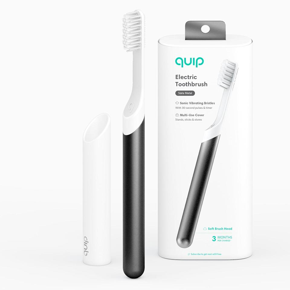 <p>Elevate his morning and evening routine with the sleek and sustainable <span>Quip Electric Toothbrush, Built-In Timer + Travel Case in Slate Metal</span> ($28).</p>
