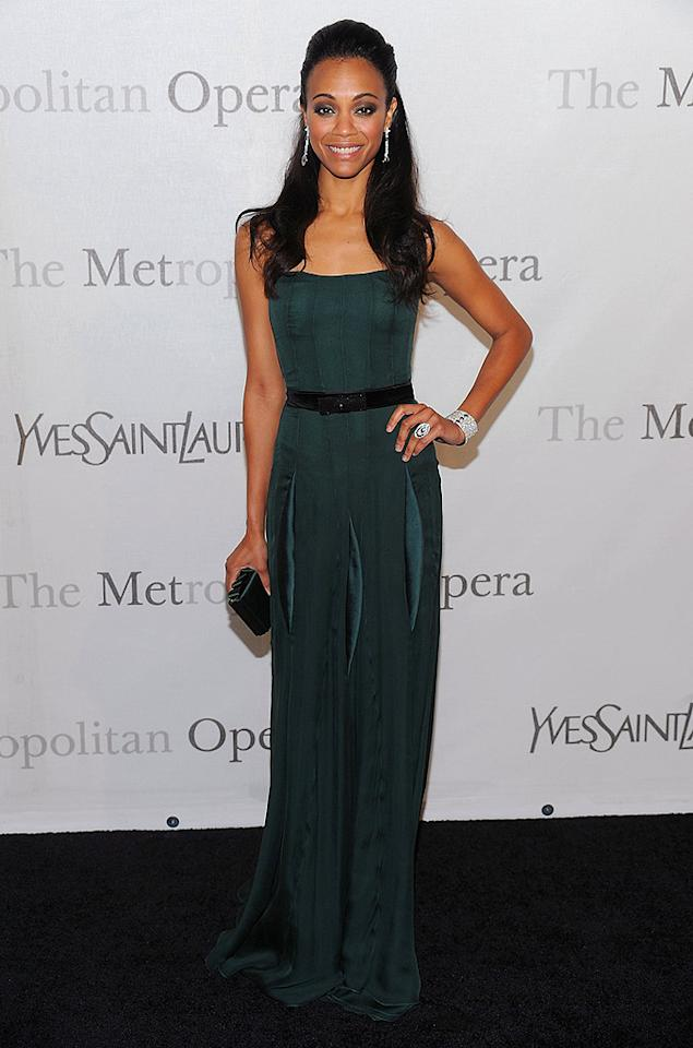 """Eye-catching cuffs, like the one worn by Zoe Saldana, were the other hot accessory of the evening. Dimitrios Kambouris/<a href=""""http://www.wireimage.com"""" target=""""new"""">WireImage.com</a> - March 15, 2009"""