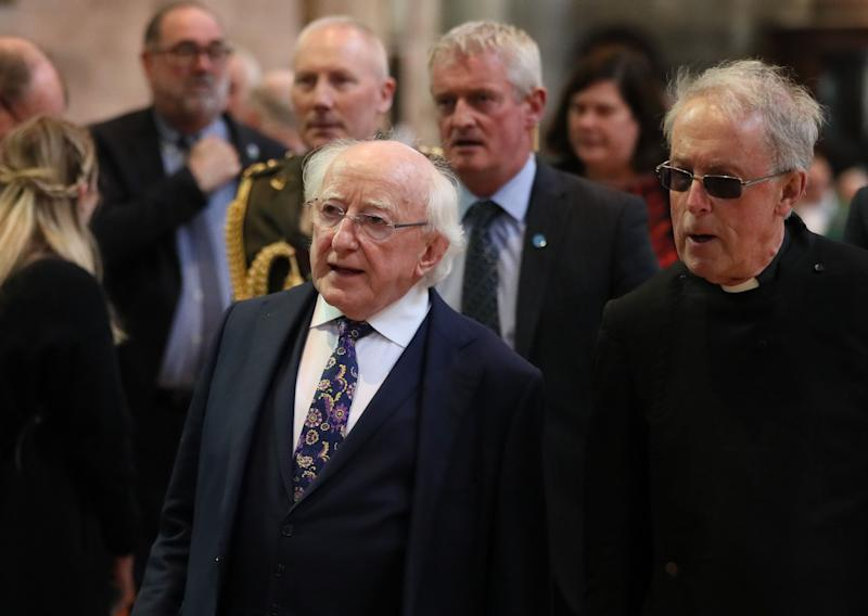 Irish President Michael D Higgins before the funeral service (Photo: PA Wire/PA Images)