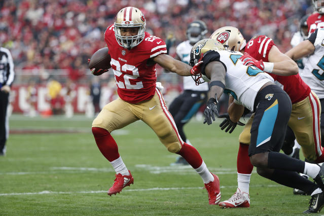 San Francisco 49ers running back Matt Breida is a DFS bargain in Week 1 and offers solid season-long upside. (AP Photo/Tony Avelar)