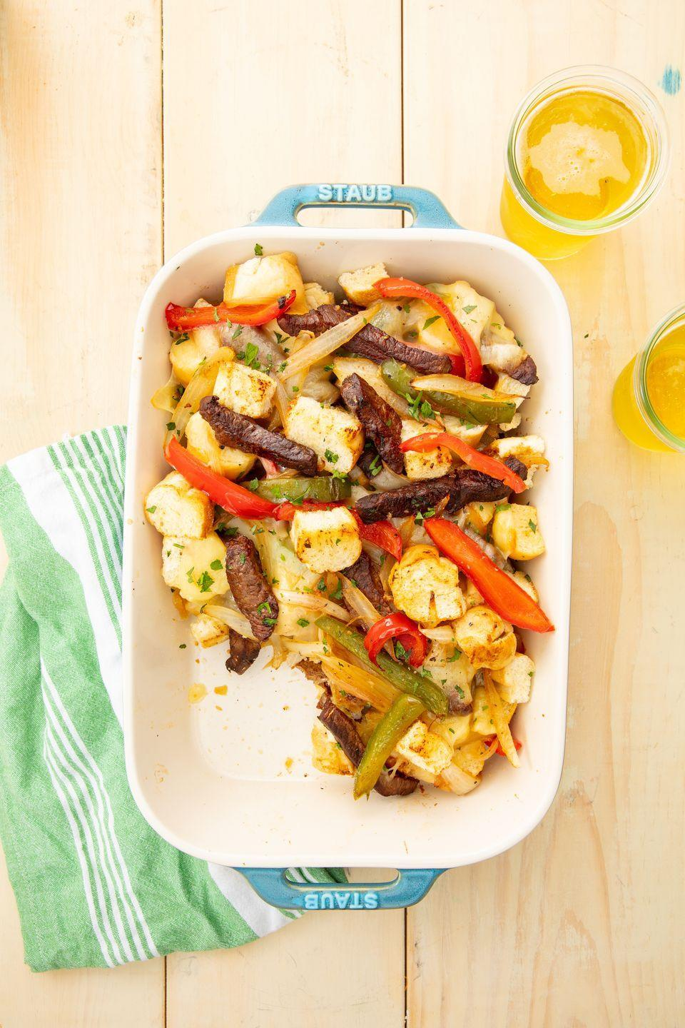 """<p>This casserole version of the legendary sandwich comes together sooo easily.</p><p>Get the recipe from <a href=""""https://www.delish.com/cooking/recipe-ideas/recipes/a55371/easy-philly-cheesesteak-casserole-recipe/"""" rel=""""nofollow noopener"""" target=""""_blank"""" data-ylk=""""slk:Delish"""" class=""""link rapid-noclick-resp"""">Delish</a>.</p>"""