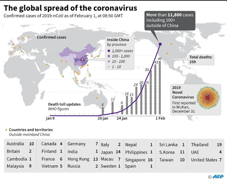 Countries or territories with confirmed cases of the 2019 Novel Coronavirus as of February 1 at 08:30 GMT. (AFP Photo/John SAEKI)