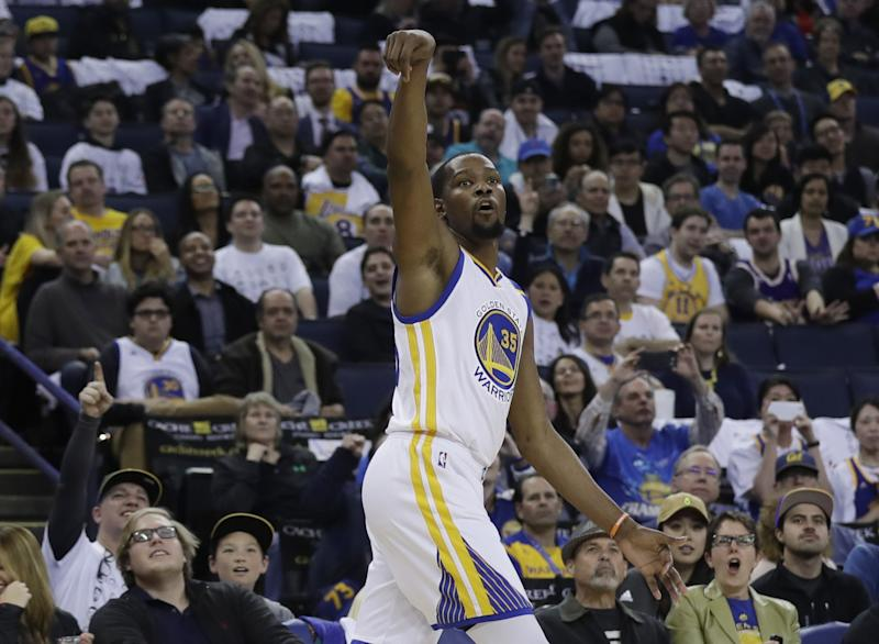 Kevin Durant has proven plenty strong enough to get many, many buckets. (AP)