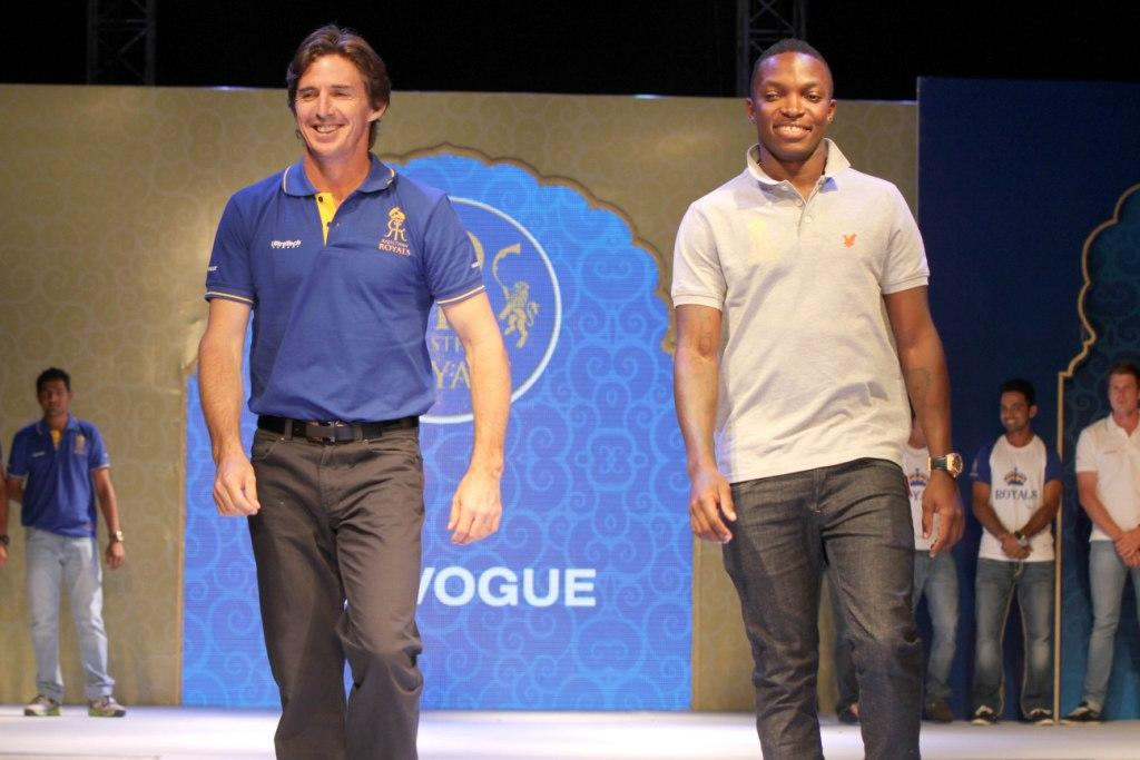 Rajasthan Royals' Brad Hogg and Fidel Edwards on the ramp at the Rajasthan Royals-Provogue Fanwear Launch at Hotel Marriott in Jaipur on Monday