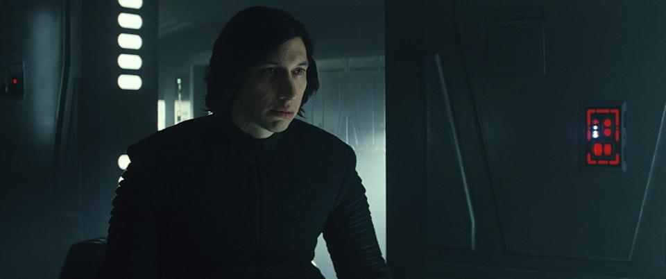 Adam Driver, with his shirt on, as Kylo Ren in <i>Star Wars: The Last Jedi</i>. (Photo: Lucasfilm)