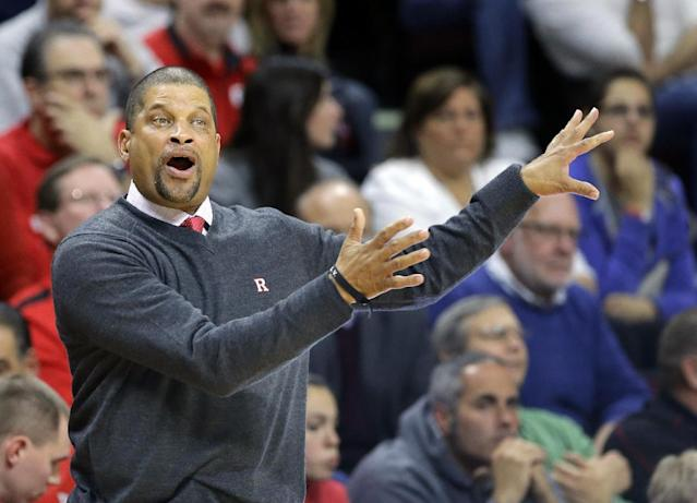 Rutgers head coach Eddie Jordan shouts to his players during the first half of an NCAA college basketball game against Florida A&M in Piscataway, N.J., Friday, Nov. 8, 2013. (AP Photo/Mel Evans)