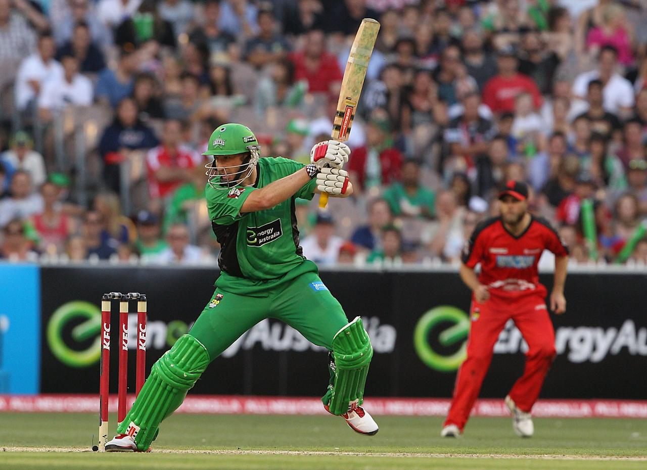MELBOURNE, AUSTRALIA - JANUARY 06:  David Hussey of the Stars plays a shot during the Big Bash League match between the Melbourne Stars and the Melbourne Renegades at Melbourne Cricket Ground on January 6, 2013 in Melbourne, Australia.  (Photo by Robert Prezioso/Getty Images)