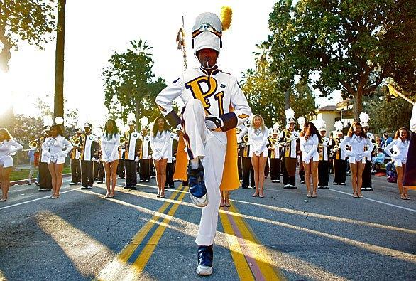 The Prairie View A&M University Marching Storm Band marching at the Rose Parade.