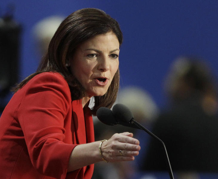 "FILE - In this Aug. 28, 2012 file photo, Sen. Kelly Ayotte, R-N.H. gestures while speaking at the Republican National Convention in Tampa, Fla. Republicans locked in close races _ from Mitt Romney to Massachusetts Sen. Scott Brown _ on Wednesday disavowed Indiana Senate candidate Richard Mourdock's comment that when a woman becomes pregnant during a rape, ""that's something God intended."" Other Republicans also immediately distanced themselves from the tea party-backed Mourdock. Ayotte canceled a planned trip to campaign with the candidate Wednesday and issued a statement saying she disagreed with him. (AP Photo/Charlie Neibergall, File)"